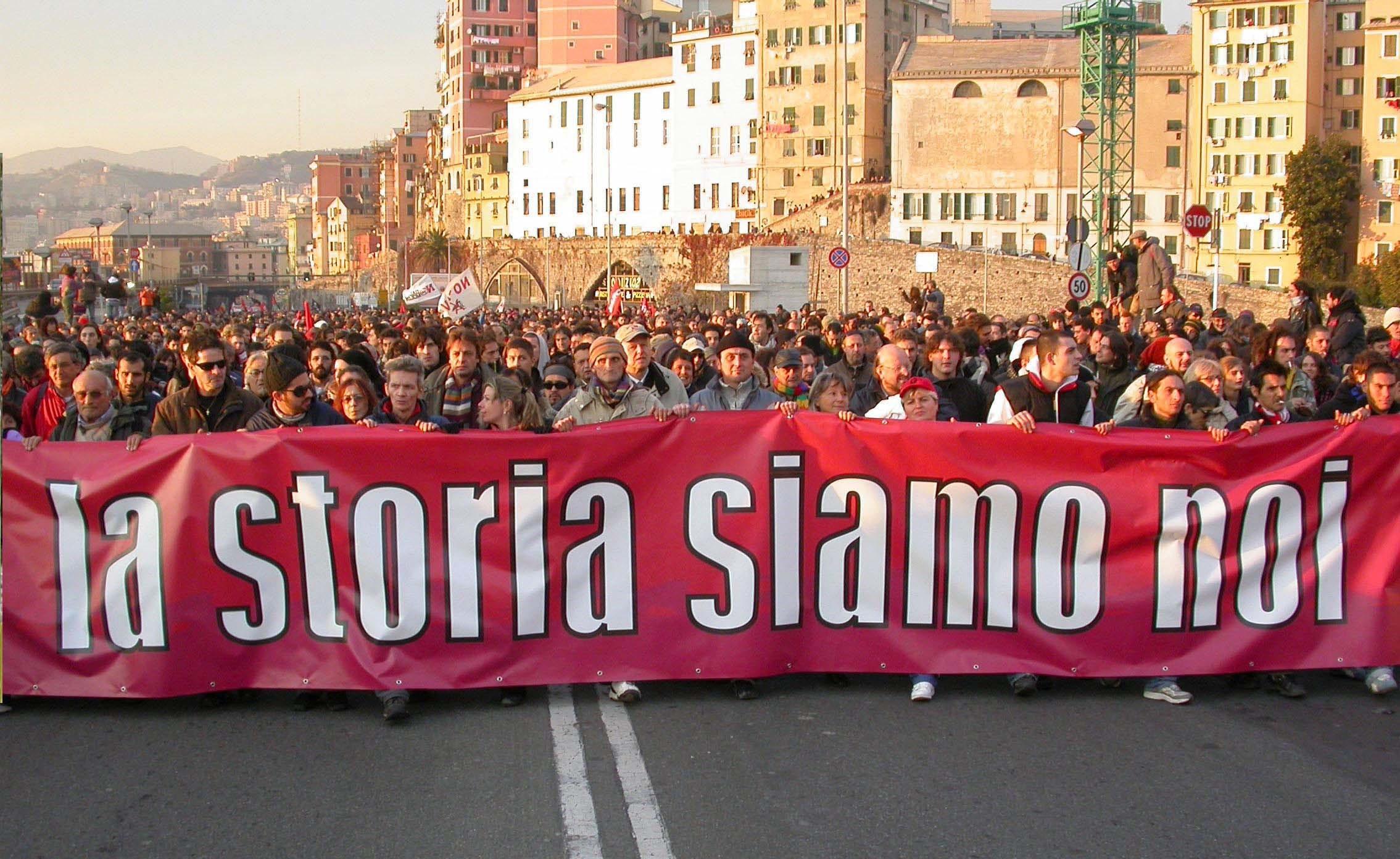 «Nous sommes l'histoire»: manifestation au G8 de Genova en 2001.